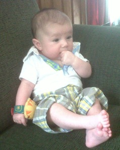 Gabriel is now strong and sitting up on his own!